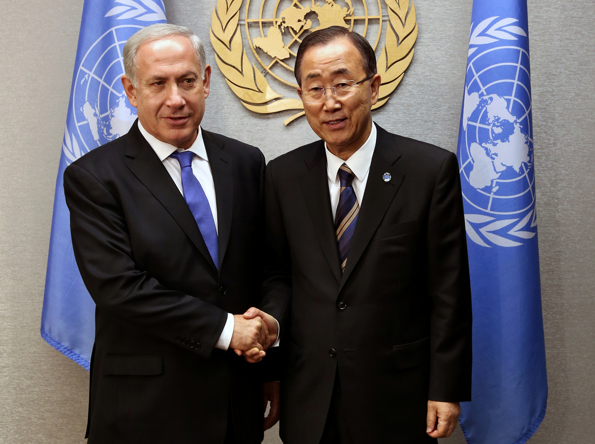 United Nations Secretary-General Ban Ki-moon, right, meets with Prime Minister Benjamin Netanyahu of Israel at the 67th sessi