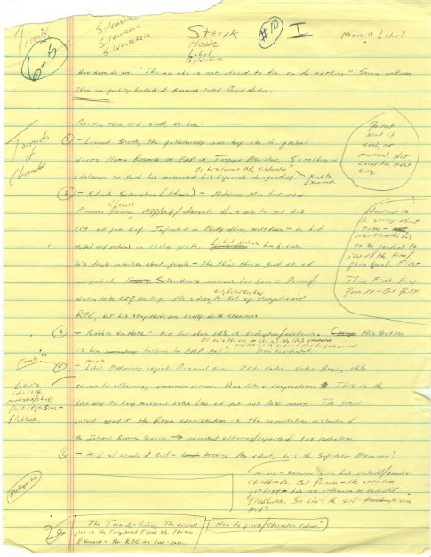 """<em>Handwritten list including characters in The Pale King, designated a """"Tornado of Characters"""" in the left margin. © David"""