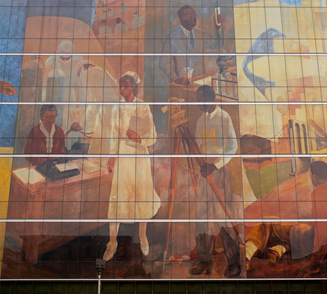 The new pavilion at Harlem Hospital Center will showcase restored murals by black artists of the 1930s, including this digita