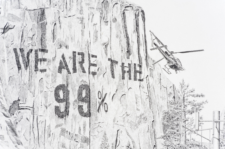 """Jennifer Celio, """"Nimby (National Forest) Detail"""" 2012; Graphite pencil on paper; 38 x 50 inches"""