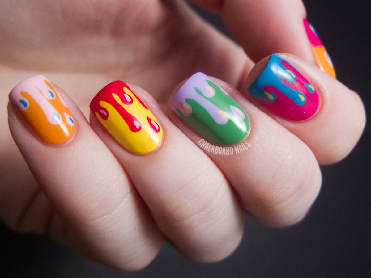 """""""I made the paint drips look exactly the same on each nail, only varying the color combinations. I chose bright colors to emu"""