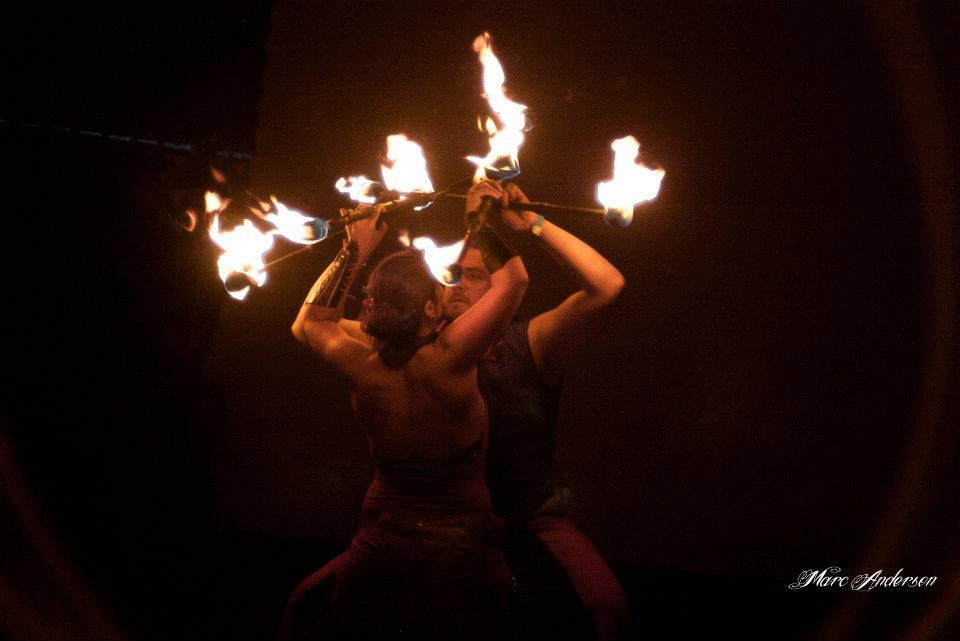 """San Francisco fire dancing and performance troupe, <a href=""""http://solarflarefire.com/"""">Solar Flare</a>."""