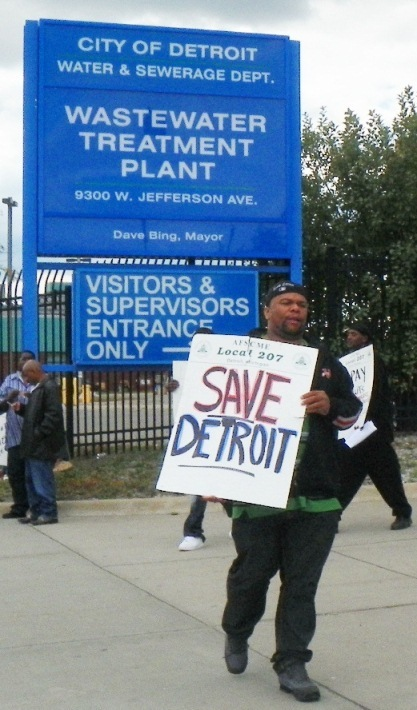 About 40 workers from Detroit's waste water treatment plant walked off the job Sunday morning to picket against proposed job