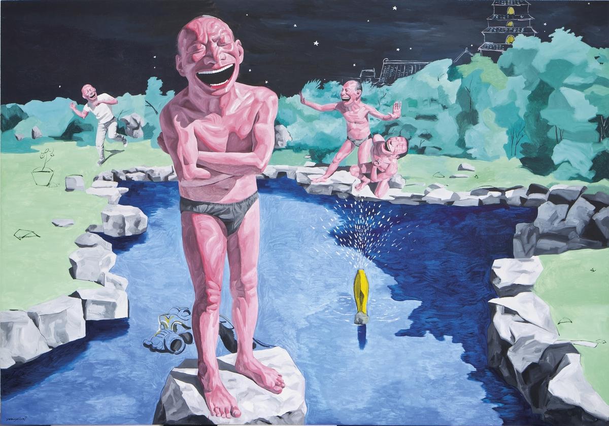 Yue Minjun (b.1962), Backyard Garden, 2007, Oil on canvas    280 x 400 cm, Est. HK$8 – 12 million / US$1 – 1.5 million