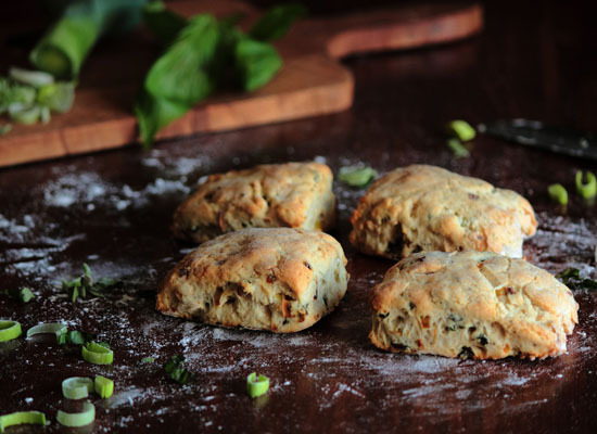 "<strong>Get the <a href=""http://www.pastryaffair.com/blog/caramelized-leek-basil-black-pepper-biscuits.html"">Caramelized Leek"