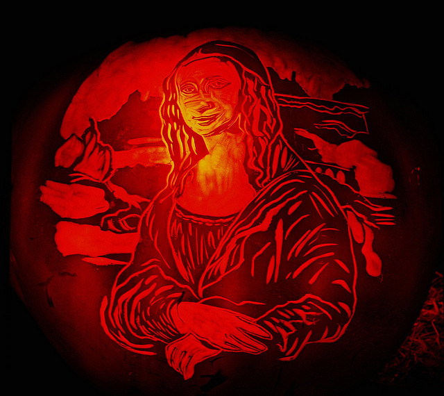 Swap out the standard jackolantern grin with an even more iconic smile. Go ahead, be the da Vinci of pumpkin carving.  Credit