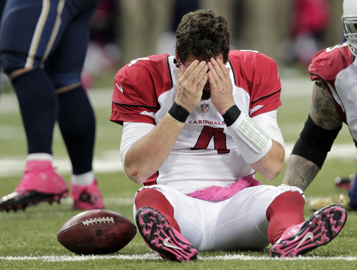 Arizona Cardinals quarterback Kevin Kolb reacts after being sacked during the third quarter of an NFL football game against t