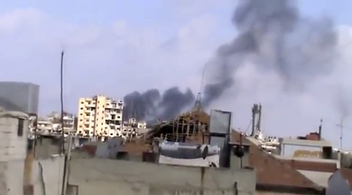 In this image taken from video obtained from the Shaam News Network, which has been authenticated based on its contents and o