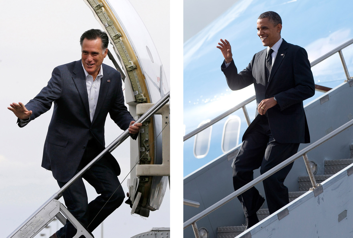 FILE - In these Sept. 2012, file photos Republican presidential candidate Mitt Romney, left, boards a plane in Denver, Colo,