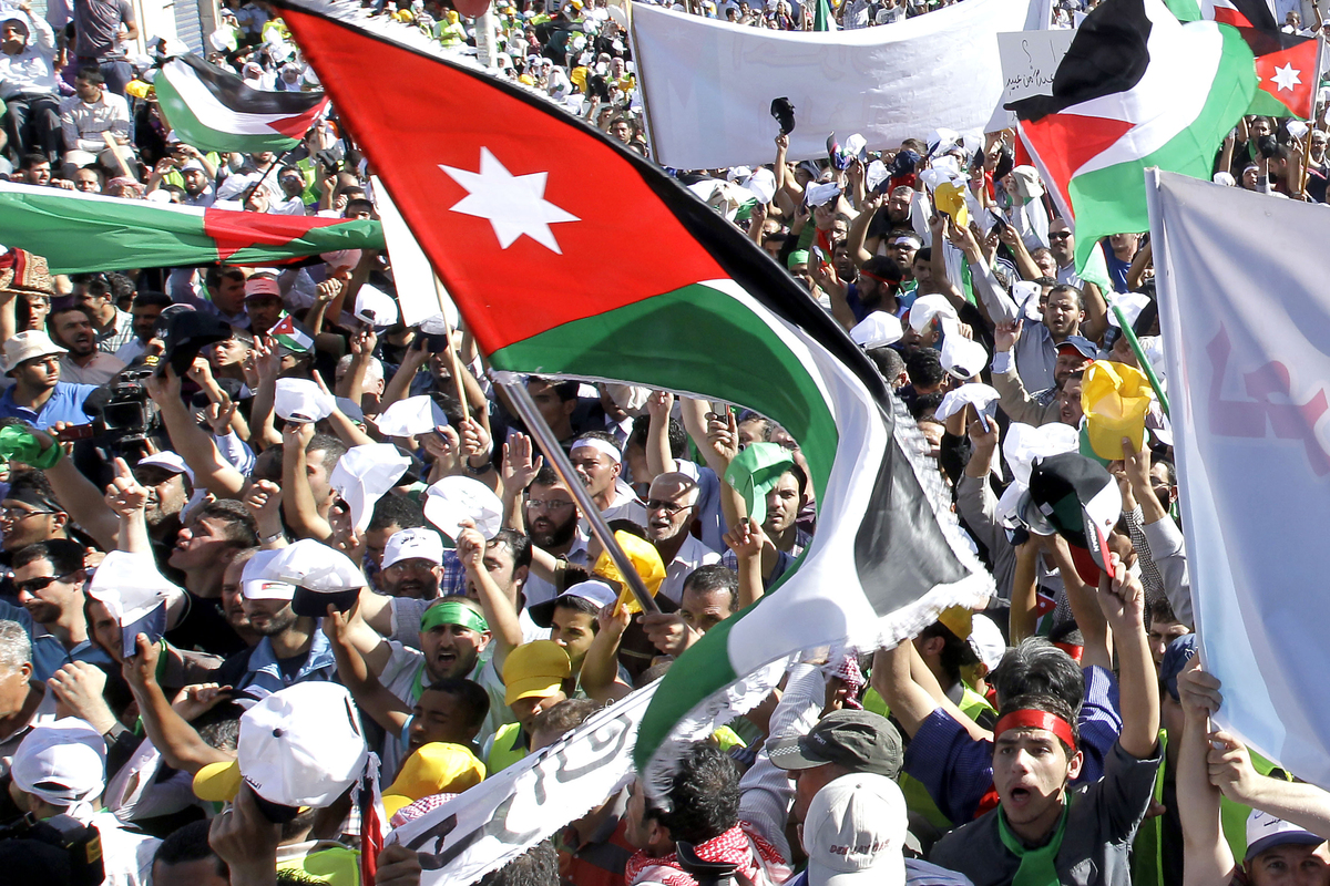 Jordanian protestors take part in a demonstration in Amman, on October 5, 2012.  (KHALIL MAZRAAWI/AFP/GettyImages)