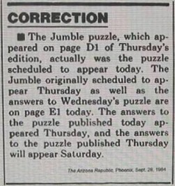 Alternate headline: Jumble Jumbled.