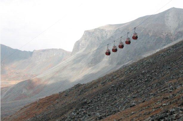 The gondola almost not taken, inside the Mt. Paektu Volcano