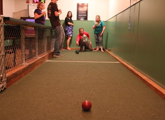 DC Bocce League members play a round at Black Jack's newly installed bocce court.