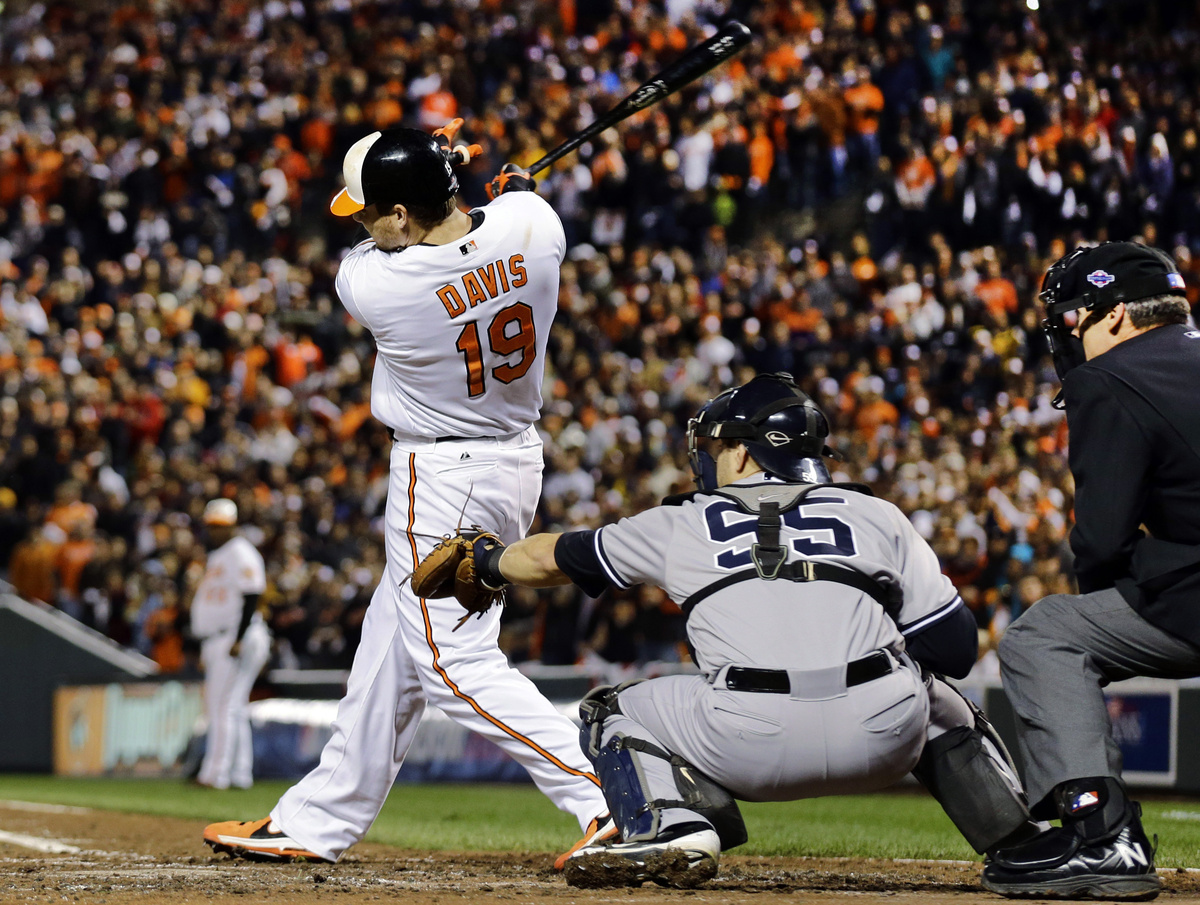Baltimore Orioles' Chris Davis singles in the third inning of Game 2 of the American League division baseball series against