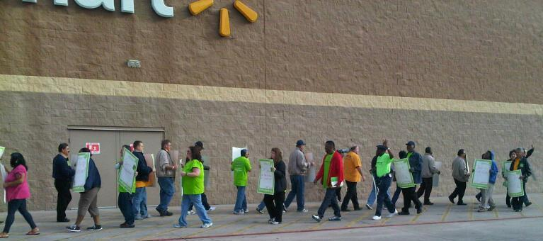 Walmart workers on strike Tuesday.