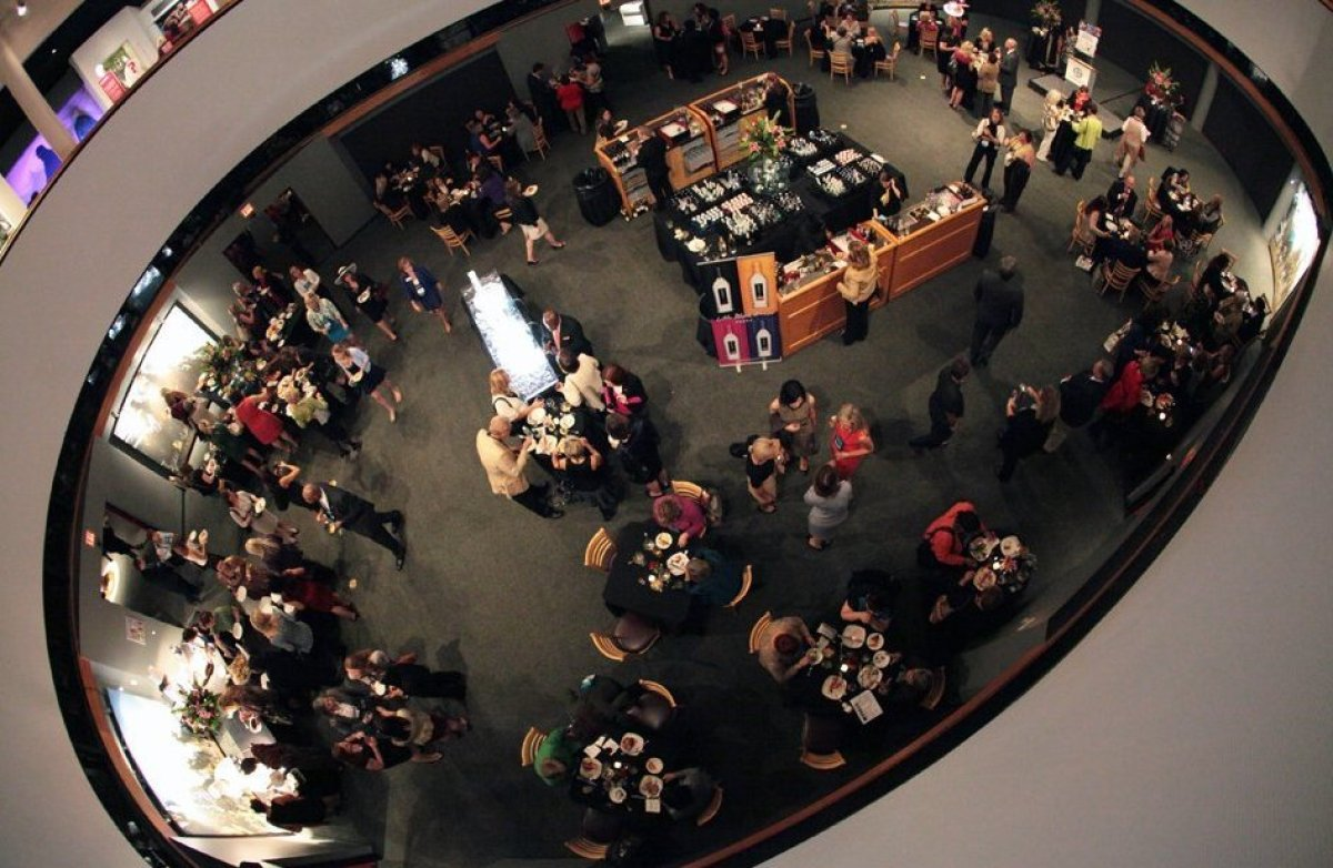 A bird's eye view of the Opening Reception at the Kentucky Derby Museum