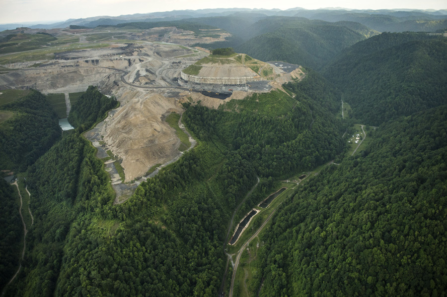 An aerial view of the mountaintop removal mine that caused all but one family in Lindytown, West Virginia, to sell their home