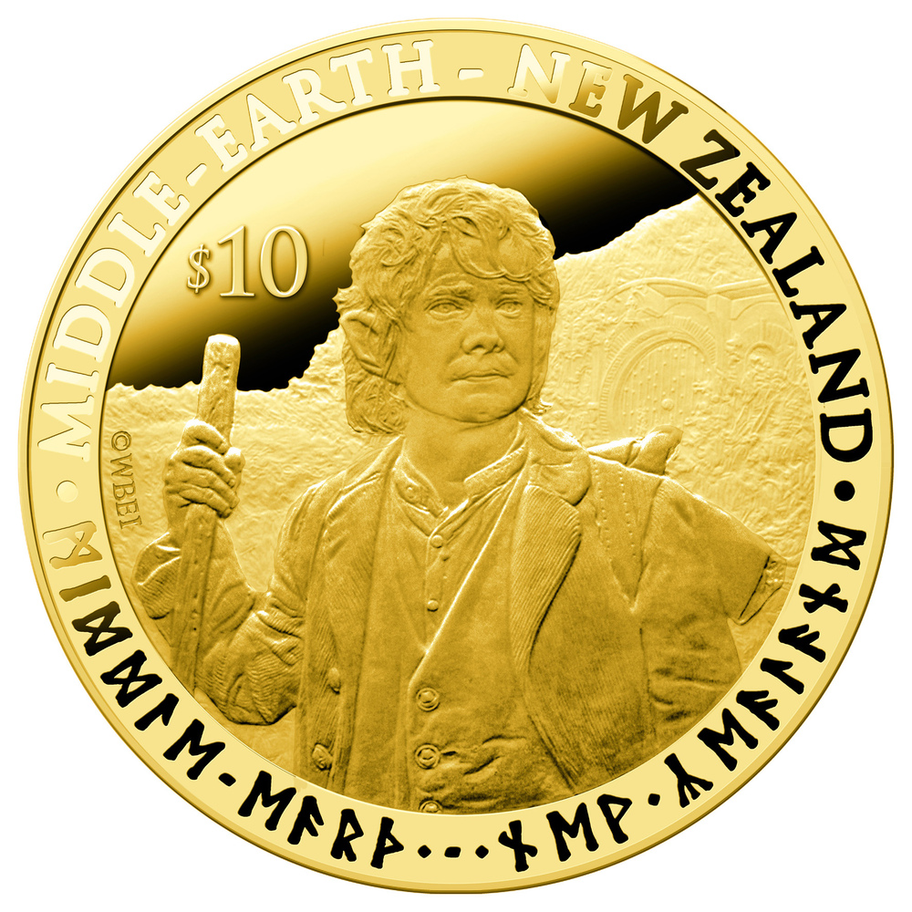 An undated handout photo received on October 10, 2012 shows a NZ$10 (8.16USD) coin bearing the image of Bilbo Baggins, a char