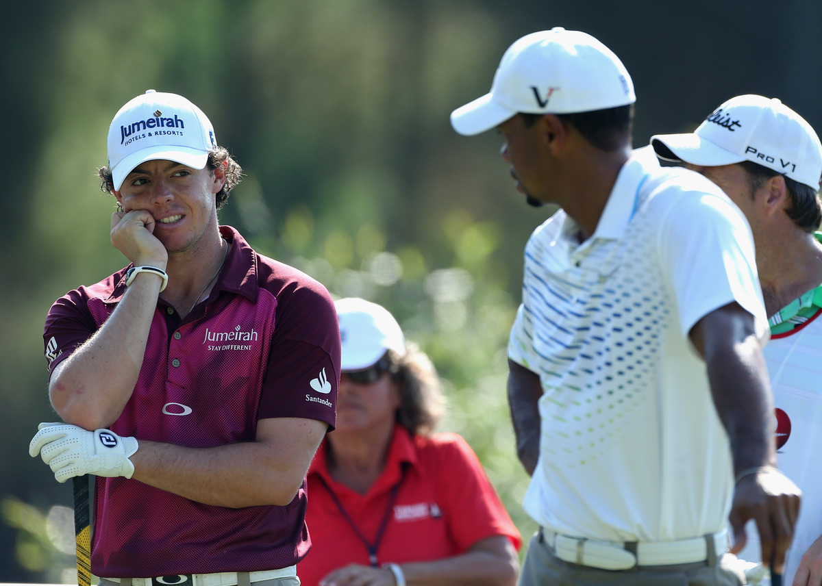 ANTALYA, TURKEY - OCTOBER 11:  Rory McIlroy of Northern Ireland and Tiger Woods of the USA have a chat on day three of the Tu