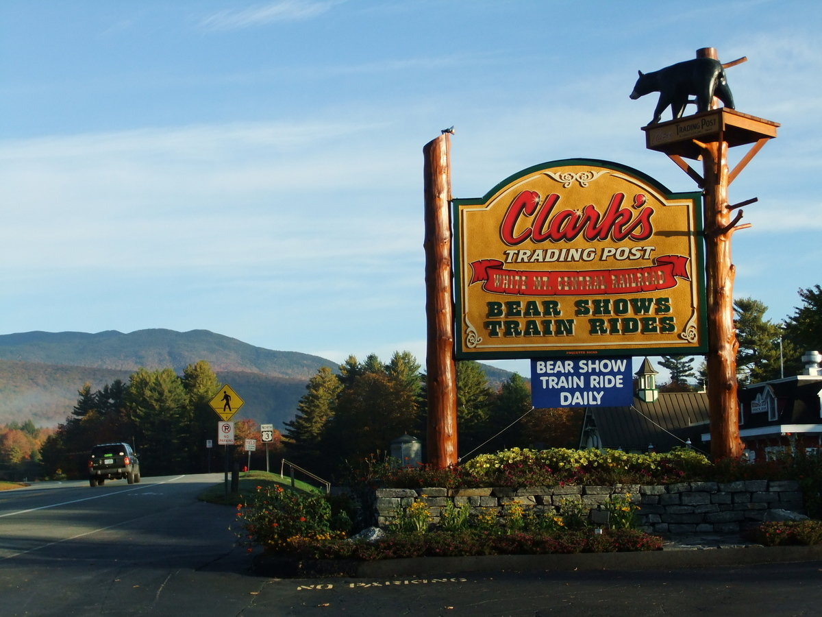 Clark's Trading Post boast a shiny new sign meant to draw visitors in off New Hampshire's Daniel Webster Highway.