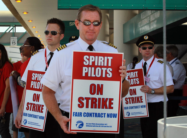 """June 13, 2010: """"Spirit, based in Miramar (FL), canceled all of its flights today and Tuesday as pilots held firm on their ref"""
