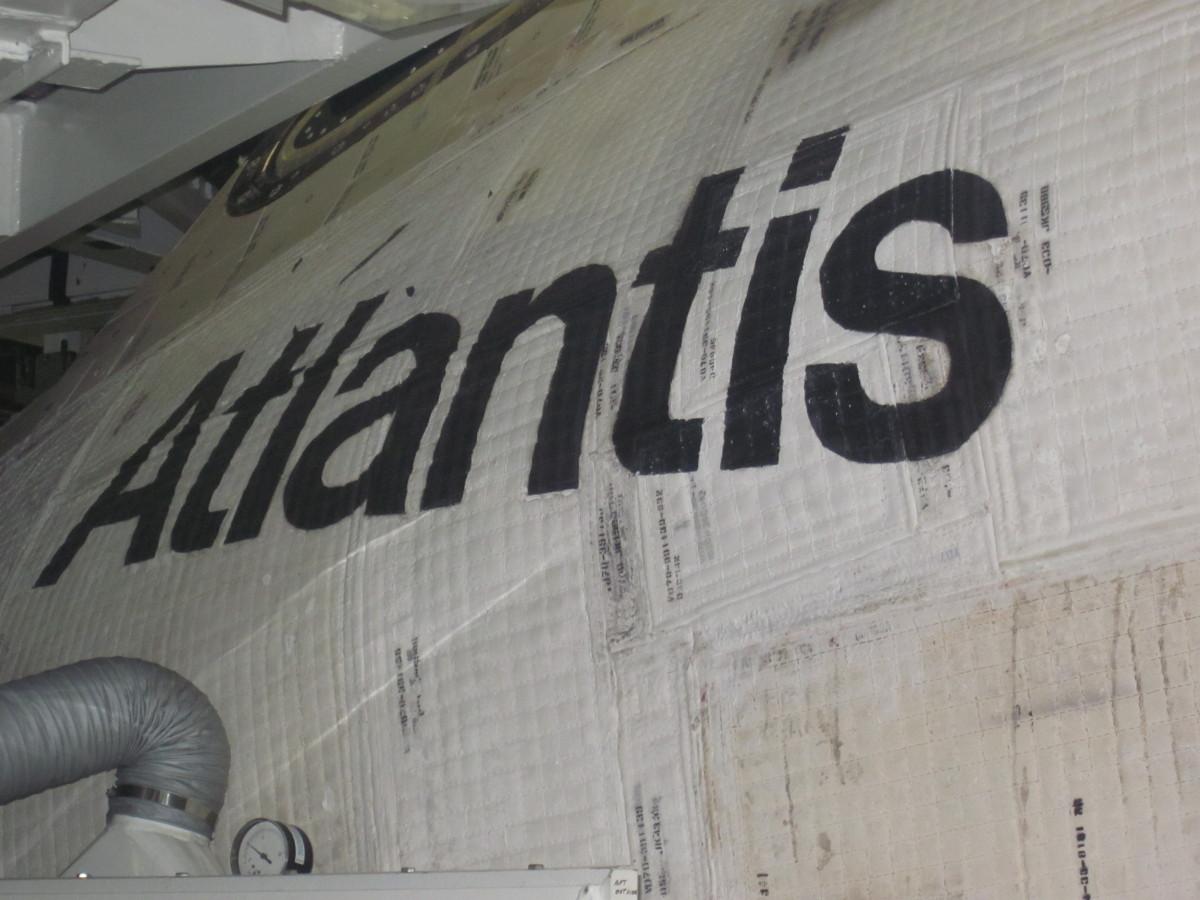 Front left side of Space Shuttle Atlantis