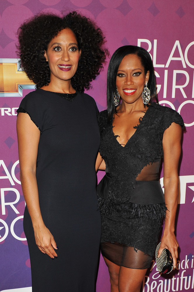 NEW YORK, NY - OCTOBER 13: Tracee Ellis Ross (L) and Regina King attend BET's Black Girls Rock 2012 CHEVY Red Carpet at Parad