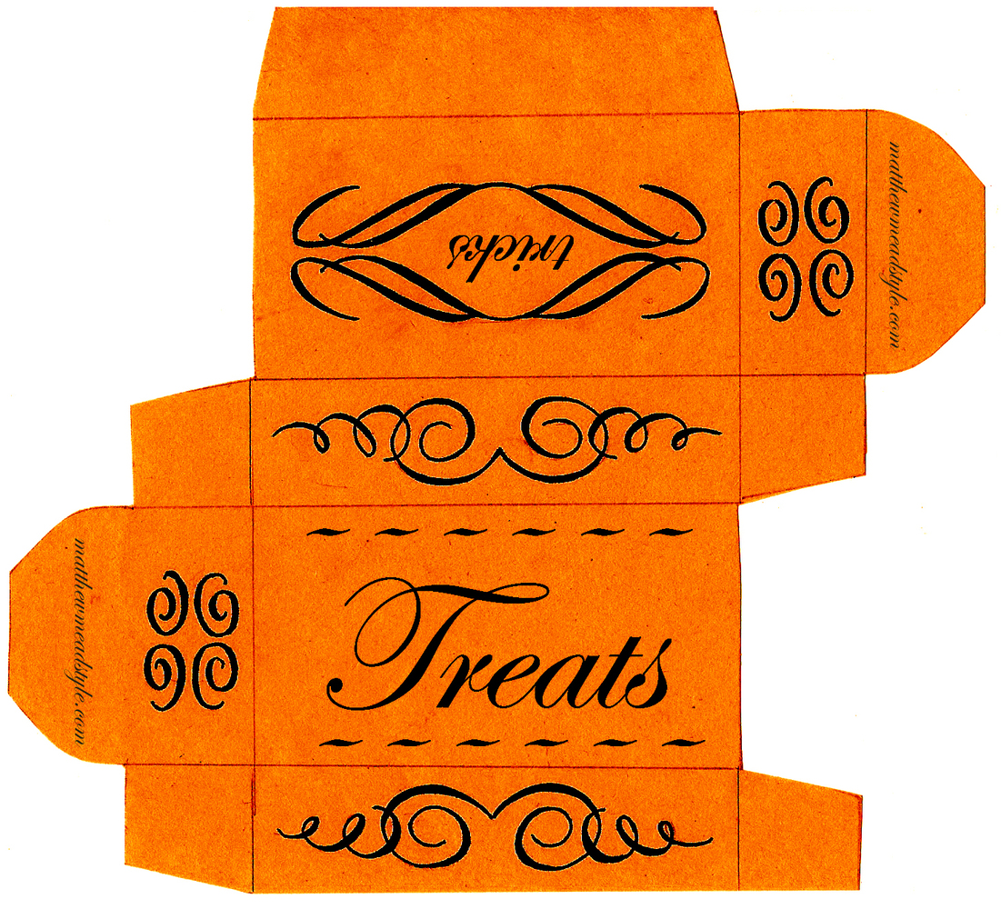 this printable can easily be folded into a neat little box for candy use them - Haloween Printables