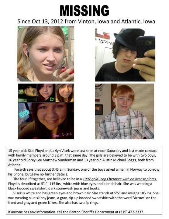 Skie Floyd, 15, Jazlyn Visek, 15, Corey Sunderman, 16, and Austin Boggs, 13, have been missing since October 13.