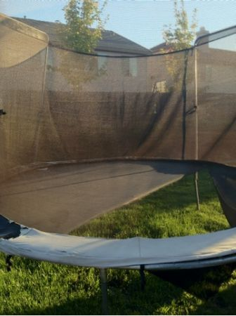 Even though this is free, we're still trying to figure out what anyone would be able to do with a trampoline that's ripped in