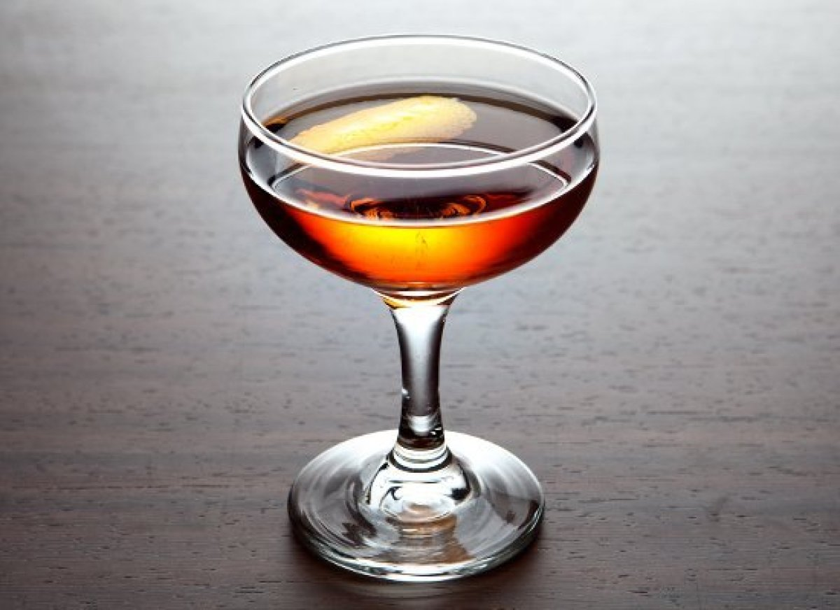 Rye is typically a drier spirit than bourbon, making it a great foil for liqueurs and bitters. This tasty libation combines r
