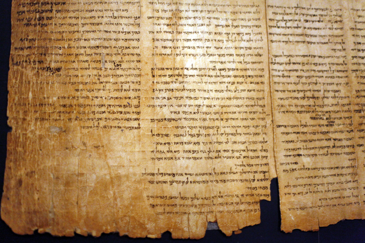 A part of the Isaiah Scroll, one of the Dead Sea Scrolls, is seen inside the vault of the Shrine of the Book building at the