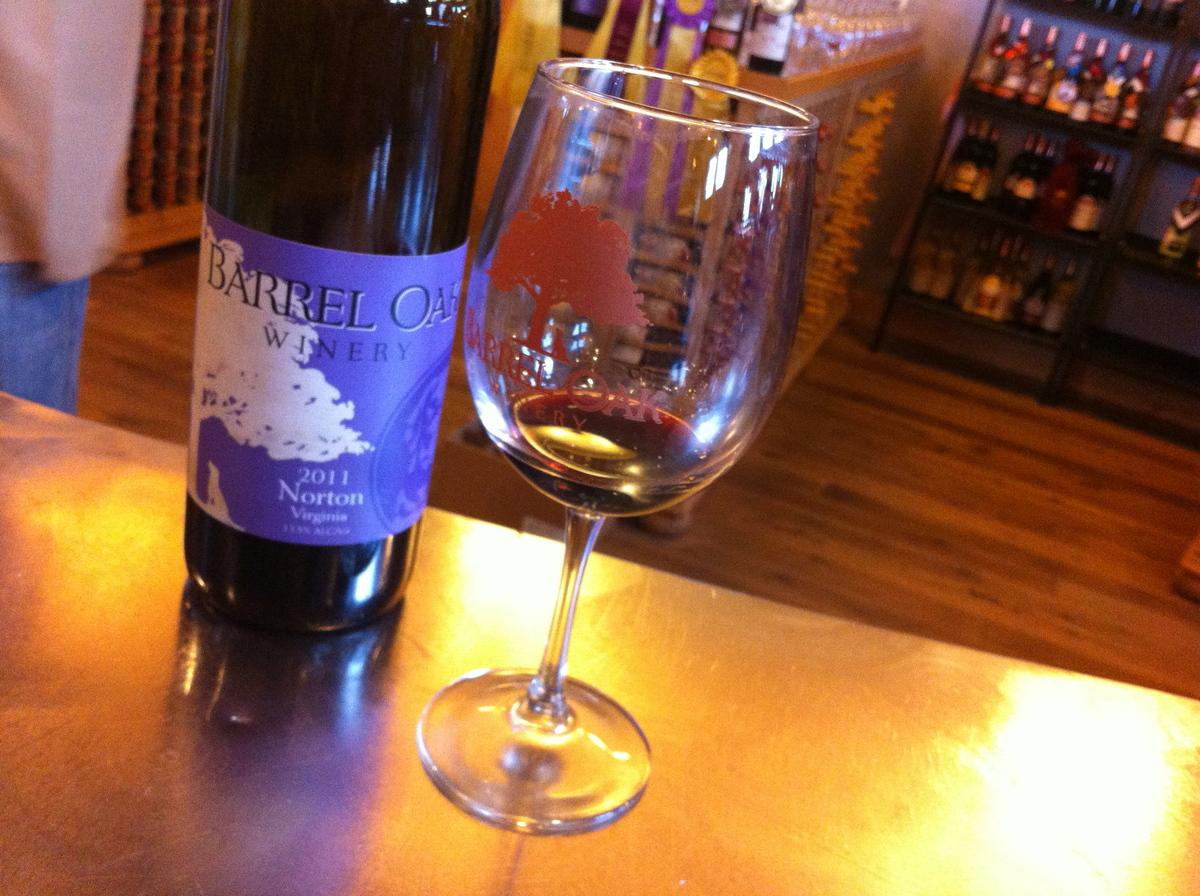 Enjoying a taste of wine at Barrel Oak Winery in Virginia.