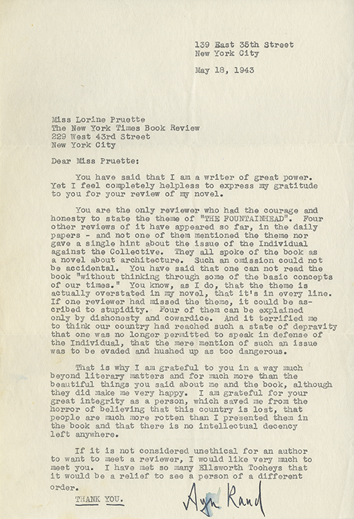 This letter, to Lorine Pruette of the New York Times Book Review, is dated May 18, 1943. She thanks Pruette for a positive re