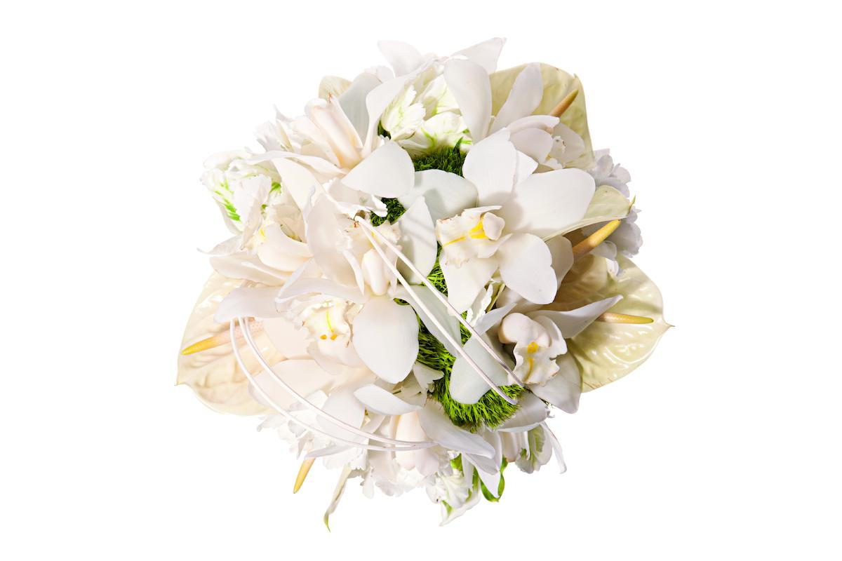 Green trick dianthus, white parrot tulips, white cymbidium orchids, anthuriums, $225 by Ovando.