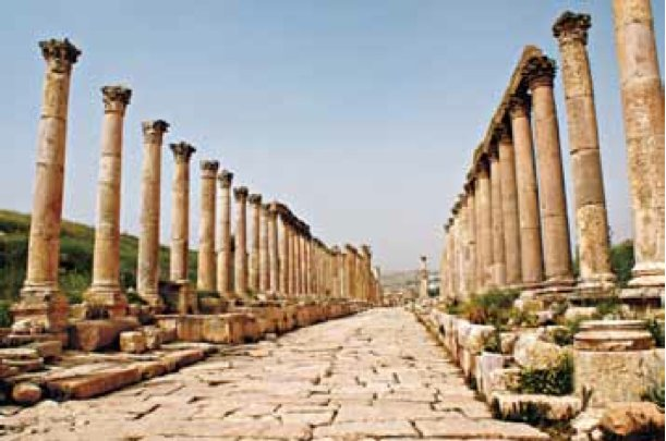This is the early 2nd century <em>cardo maximus</em> or main boulevard of Gerasa, today's Jerash in Jordan, which is the best