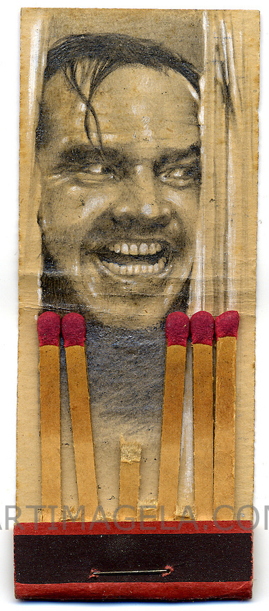 """Shining, Graphite on Vintage Matchbook Cover, 1 1/2"""" x 3 1/2"""" by artist and miniaturist, Jason D'Aquino  COPYRIGHT:© <a href="""