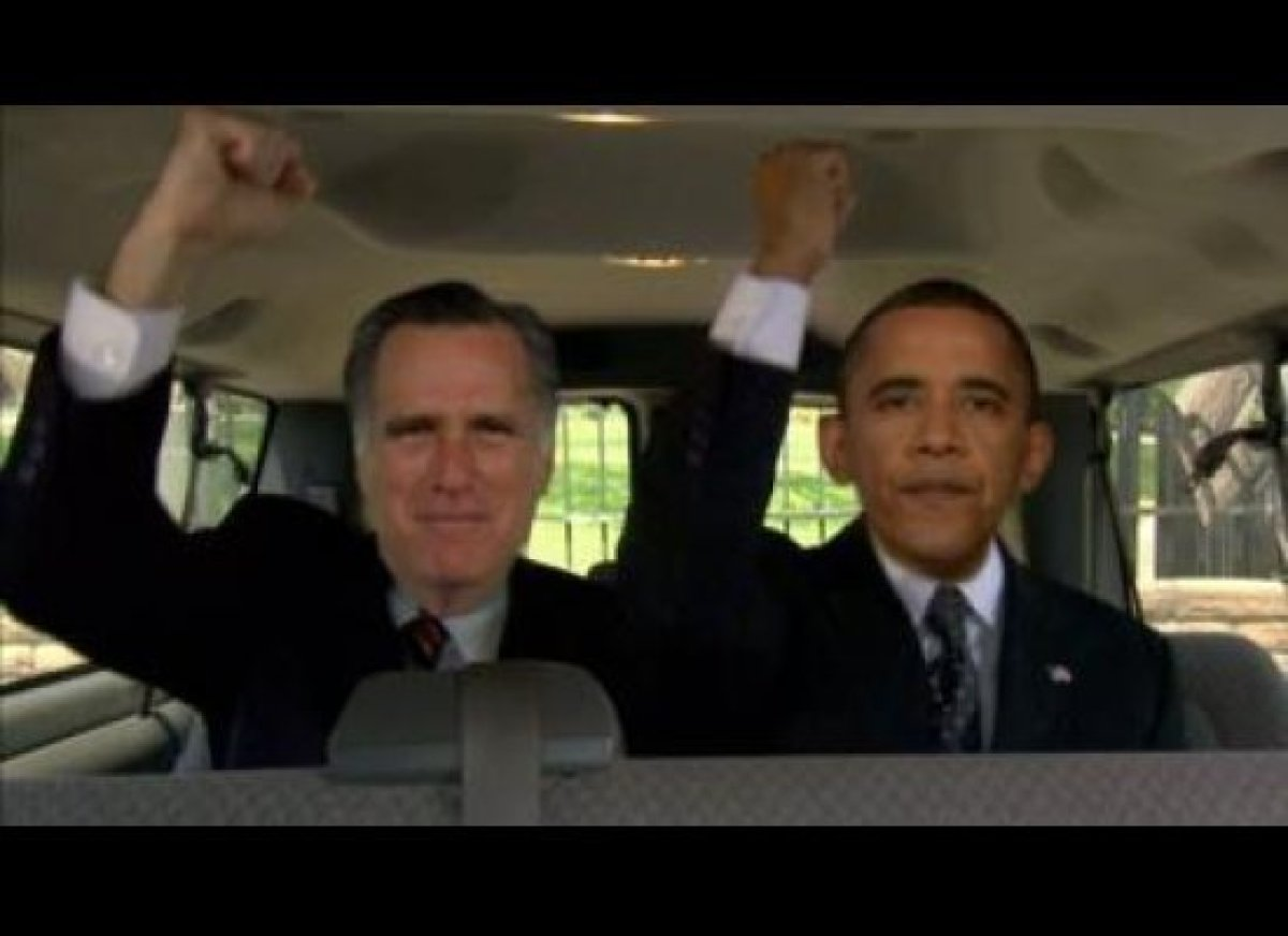 """Jay Leno premieres a new viral video from President Obama and Mitt Romney. [<a href=""""http://gtcha.me/Loojgr"""" target=""""_hplink"""""""