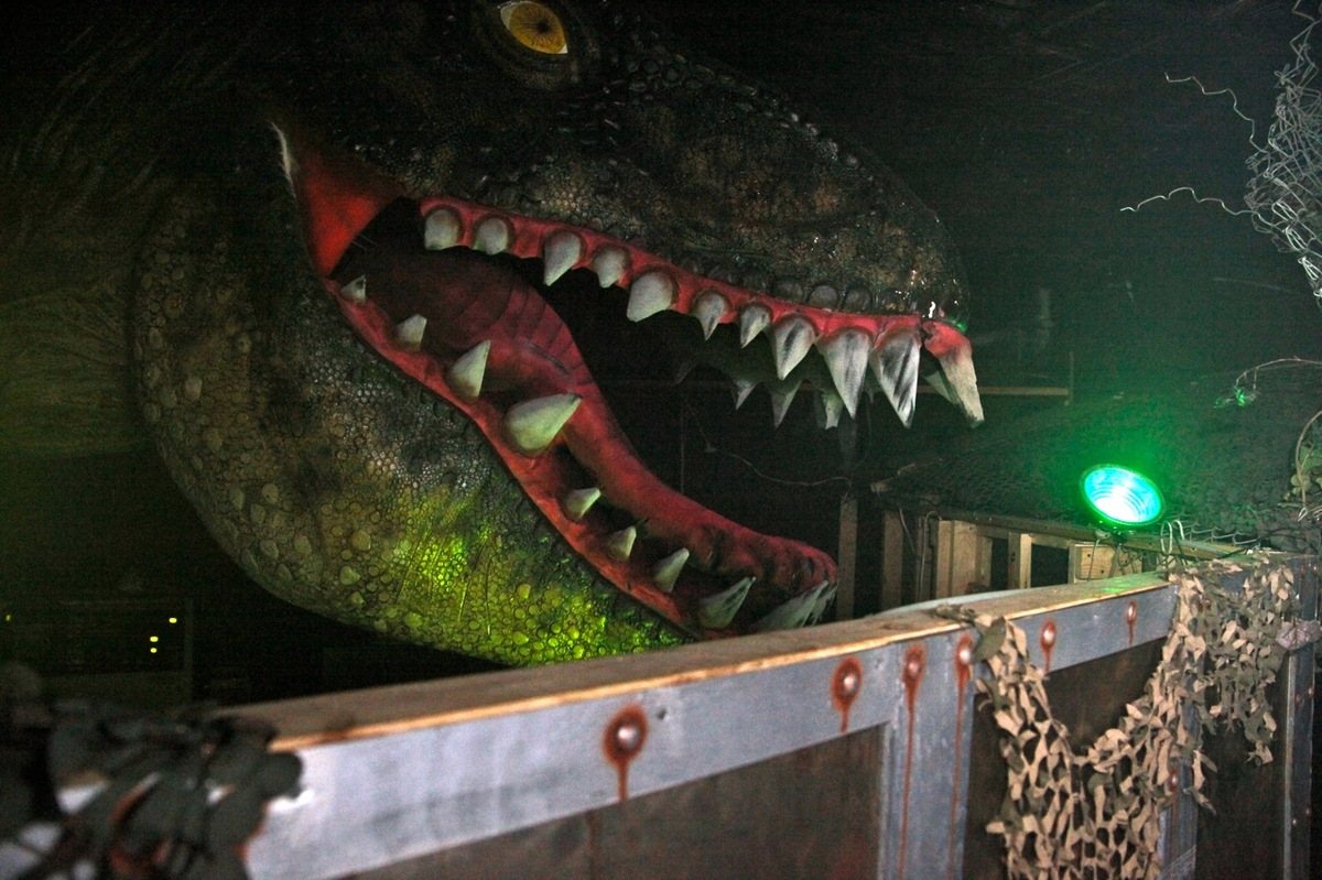 This carnivorous dinosaur is just one of the many horrifying surprises waiting for visitors at Erebus, a haunted attraction l