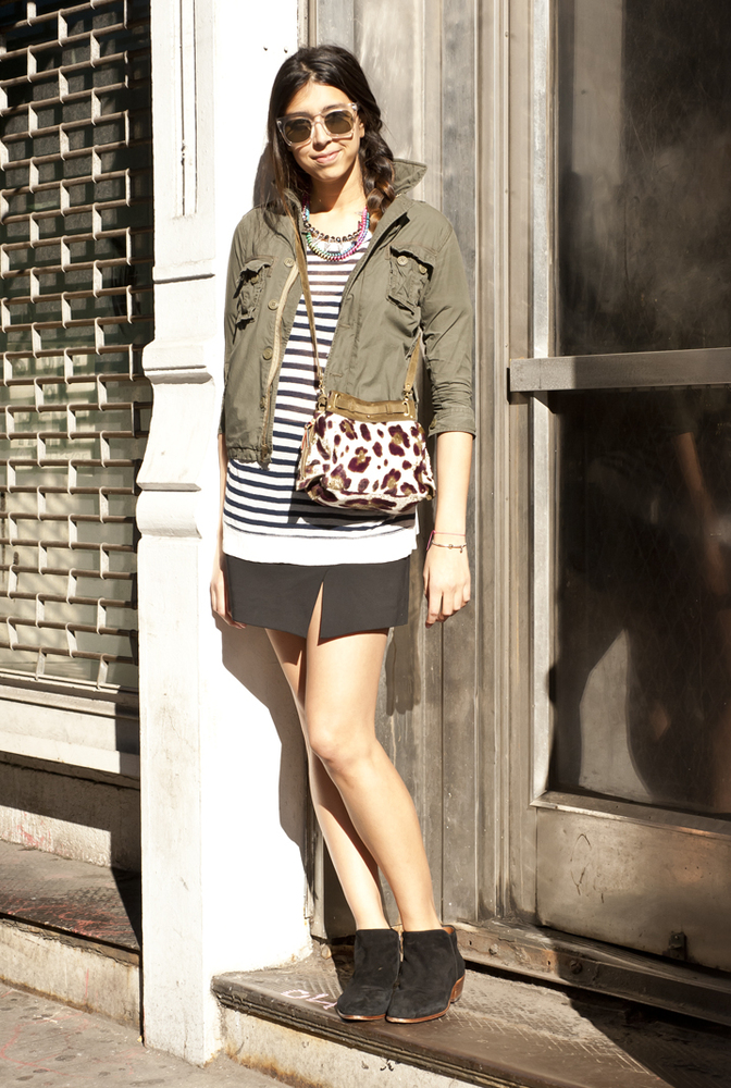 """""""I like a cargo jacket; it's a great way to wear something boxy. I love to wear things that are feminine and masculine at the"""