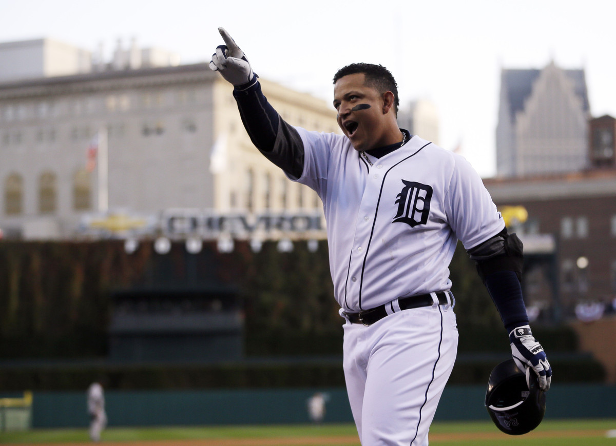 Detroit Tigers' Miguel Cabrera celebrates after hitting a two run home run in the fourth inning during Game 4 of the American