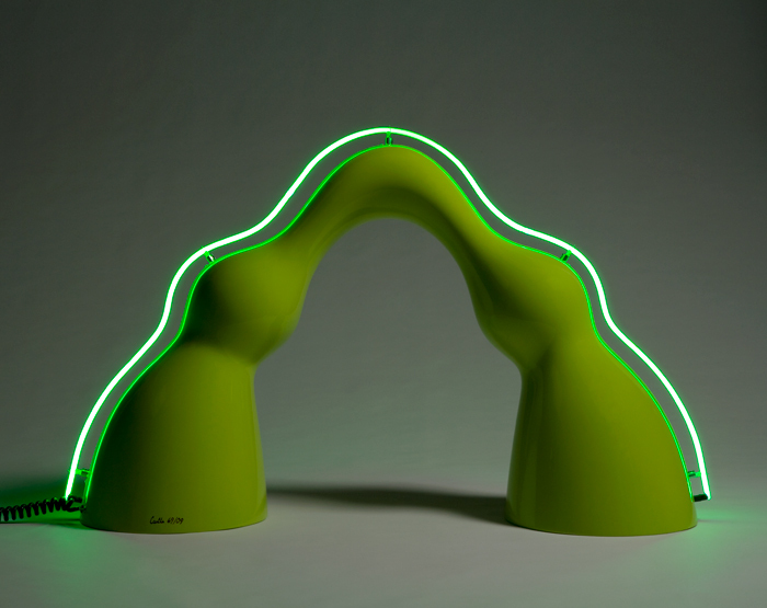 """""""Benny"""" floor lamp in lime green auto body paint on gel-coated fiberglass-reinforced plastic with a neon spine.   Series desi"""