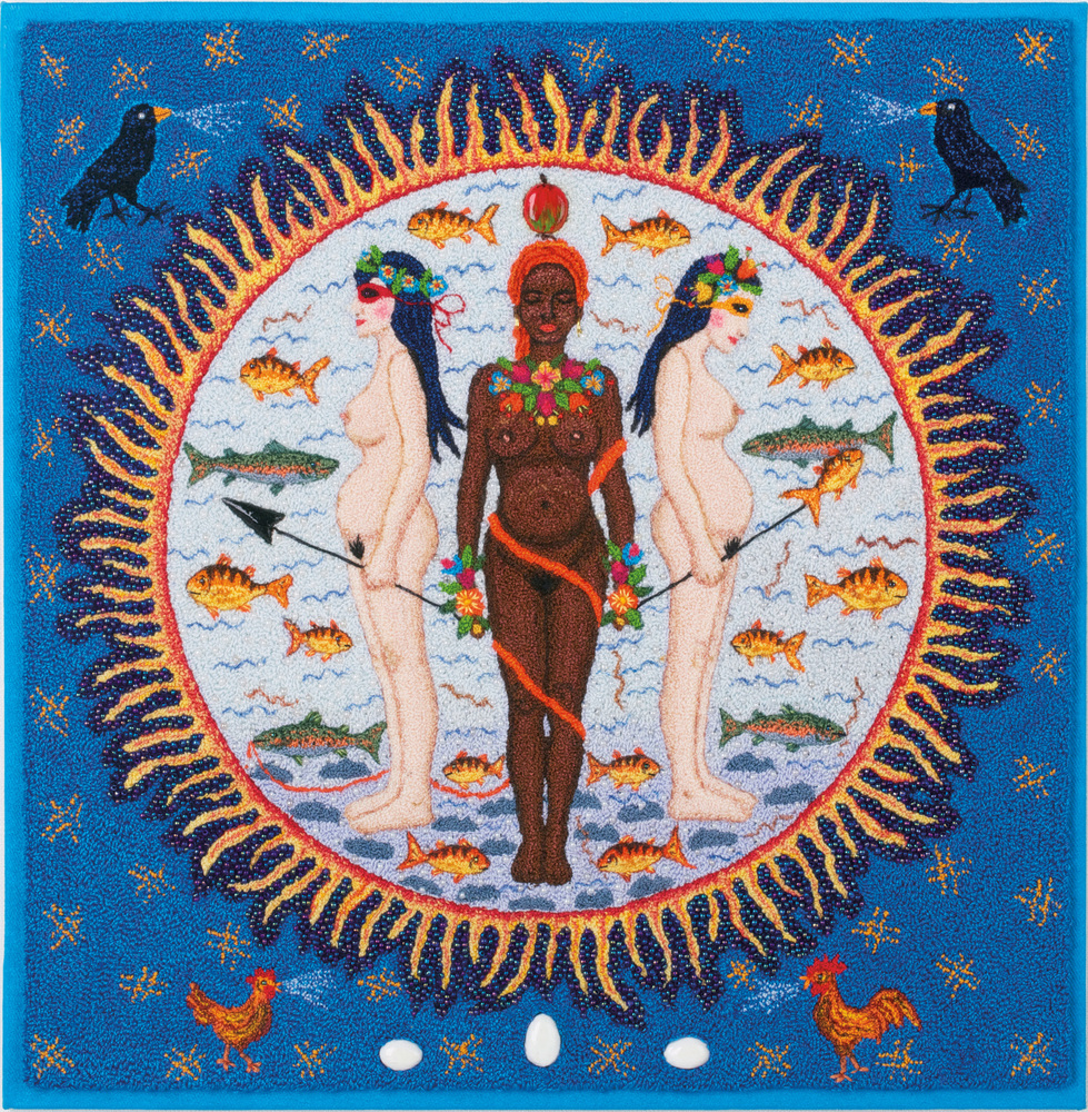 <strong>Rosita Johanson</strong><em>Fallen from Grace</em>, 2003 Dyed cotton fabric, dyed cotton thread, metallic thread, bea