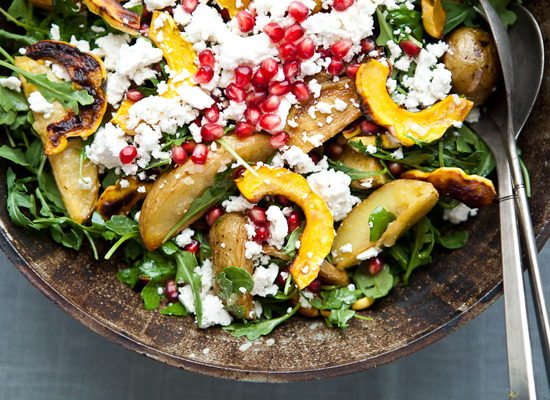 """<strong>Get the <a href=""""http://theyearinfood.com/2012/10/delicata-squash-salad-with-roasted-potatoes-and-pomegranate-seeds.h"""