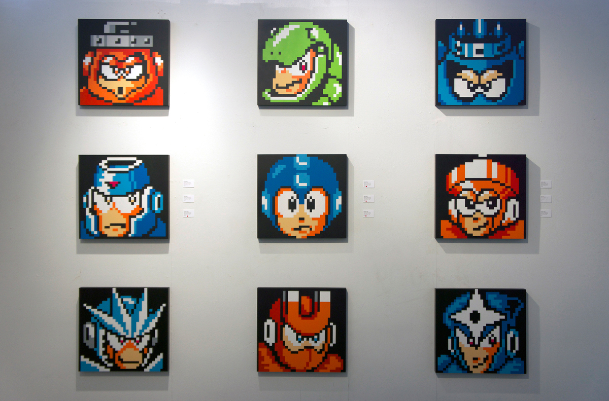 """Mega Man"" characters on display at the ""Nintendo Generation"" exhibit."