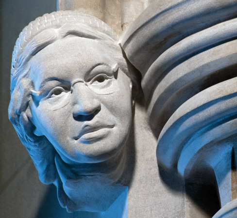 Carving of Civil Rights Activist Rosa Parks on the Human Rights Porch at the Washington National Cathedral. Sculpted by Chas