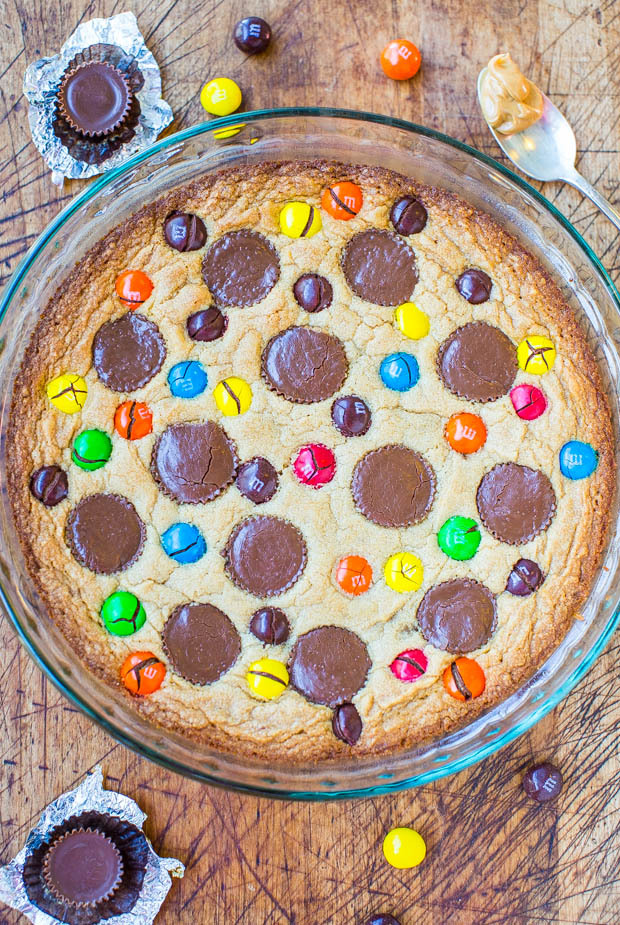 "<strong>Get the <a href=""http://www.averiecooks.com/2014/01/triple-peanut-butter-cookie-pie.html"" target=""_blank"">Triple Pean"