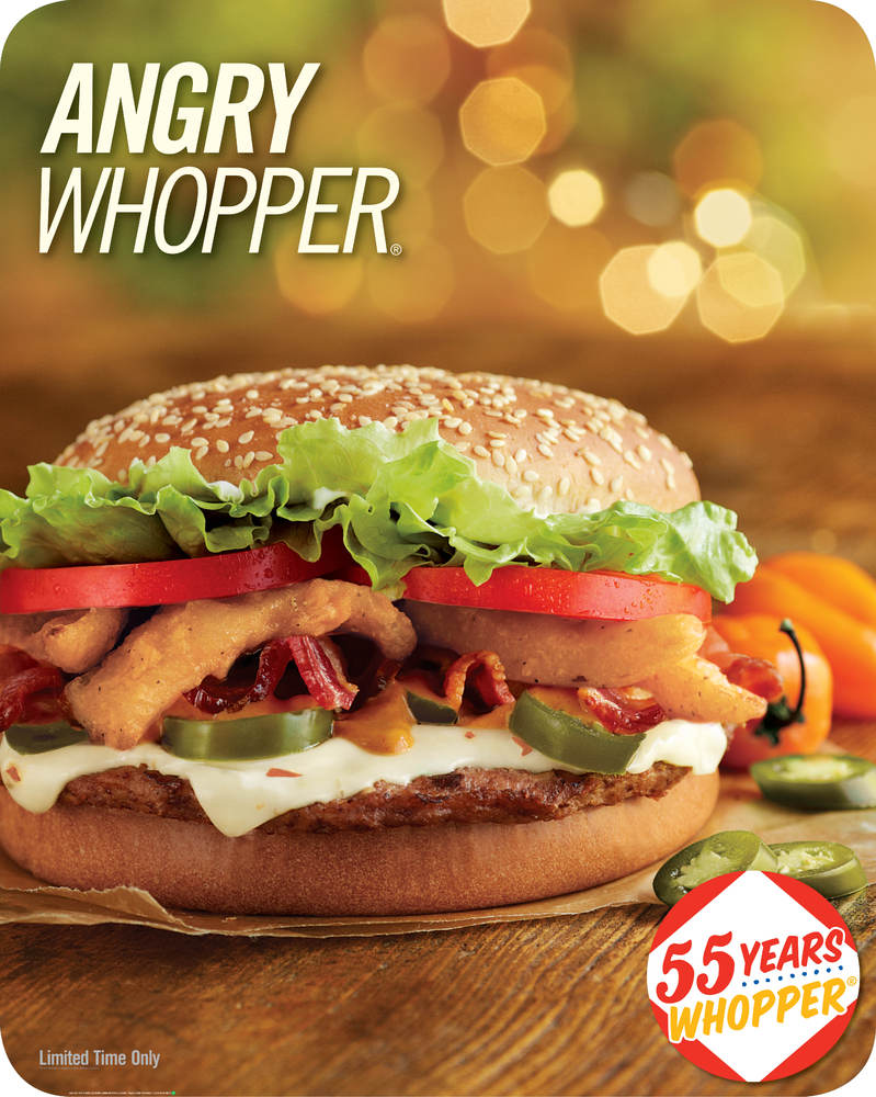 The Angry Whopper is back with ground beef, thick-cut hardwood smoked bacon, melted Habanero cheese, jalapeño slices, spicy o