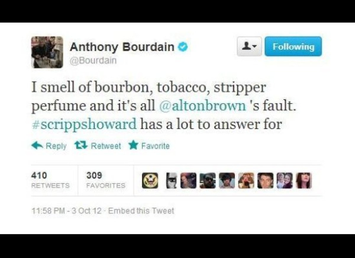 """<strong>Follow: </strong> <a href=""""https://twitter.com/Bourdain"""" target=""""_hplink"""">@Bourdain</a>  As the Travel Channel's re"""