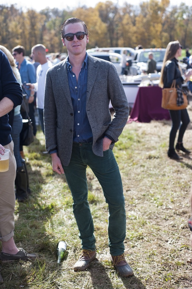 """One of my favorite looks from the Far Hills Horse Race. Relaxed tweed jacket, denim shirt, forest green cords, bean boots, t"